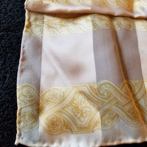 Accessories - Sheer Scarf Yellow Beige Floral Striped Soft Satin